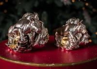 Бык- фортуна с мешком денег, статуэтка, серебро
