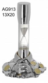 """Статуэтка Песочные часы """"Время - деньги"""" в серебре"""