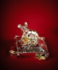 Мышка-фортуна статуэтка серебро