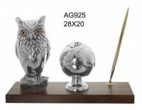 Сова на подставке с ручкой и земным шаром, под серебро