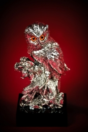 Статуэтка Сова на ветке серебряная