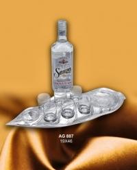 Набор из 6ти стаканов для водки/текилы на серебряном подносе