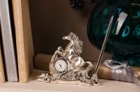 """Статуэтка """"Лошадь серебряная с часами и ручкой"""""""