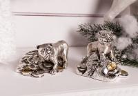 Статуэтка тигр серебряный с мешком денег