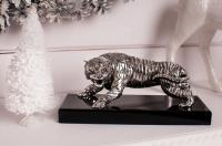 Статуэтка тигр серебряный на деревянной основе