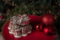 Серебряная статуэтка Трехлапая жаба с монеткаой во рту и кристал