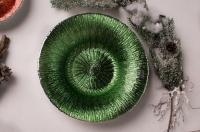 Ваза из муранского стекла и серебра, изумрудная